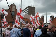 EDL Protestors in Walsall England 15 August 2015 Royalty Free Stock Photography