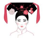 Edle Mandschufrau von Qing Dynasty, 19. Jahrhundert Traditiona Lizenzfreie Stockfotografie