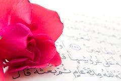 Edles Qur'an und stieg Stockbild