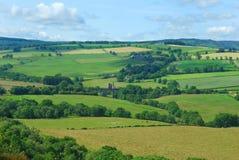 Edlingham castle & village,Northumberland. Panorama towards Edlingham near Alnwick Royalty Free Stock Photography