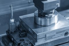 The EDM machine sparking the mold parts. The modern manufacturing process stock images