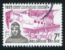 Edmond Thieffry y avión Imágenes de archivo libres de regalías