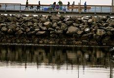 Edmonds Pier Fishing e fissatura immagine stock libera da diritti