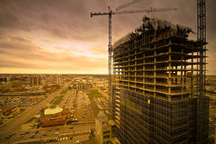 Edmonton. Construction in Edmonton, Alberta. Looking west from Edmonton downtown, this is the view you get royalty free stock image
