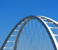 Edmonton Alberta Bridge Structure Against Blue Sky. Bridge structure of a bridge crossing the North Saskatchewan river in Edmonton Alberta royalty free stock photography
