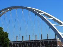 Edmonton Alberta Bridge Structure Against Blue Sky. Bridge structure of a bridge crossing the North Saskatchewan river in Edmonton Alberta stock photography