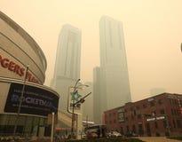 Edmonton, Alberta, Canad? - 30 de maio de 2019: Qualidade do ar consultiva de fato como a cidade das coberturas de fumo do inc?nd fotografia de stock