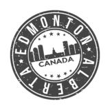 Edmonton Alberta Canada America Round Button City Skyline Design Stamp Vector Travel Tourism. Skyline with emblematic Buildings and Monuments of this famous city royalty free illustration