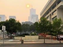 Edmonton, Alberta, Canada - August, 10th, 2018: A smoky evening stock images