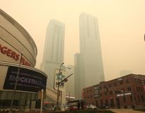 Edmonton, Alberta, Canada - May 30 2019: Air quality advisory in effect as wildfire smoke blankets city. The blanket of wildfire smoke left eyes stinging and stock photography
