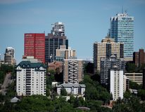Edmonton Alberta Cityscape Or Skyline. Cityscape of buildings in downtown Edmonton Alberta Canada in summer stock image
