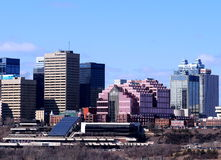 Edmonton Alberta Skyline. Skyline of downtown Edmonton Alberta with buildings old and new Royalty Free Stock Image