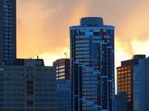 Edmonton Alberta Skyline At Dusk Stock Photo