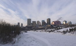 Edmonton, Alberta Winter Skyline Photo libre de droits