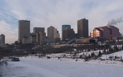 Edmonton, Alberta Winter Skyline. With frozen river in foreground Stock Images