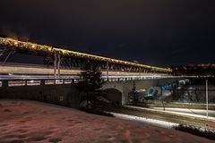 Edmonton Bridgeses by night royalty free stock image