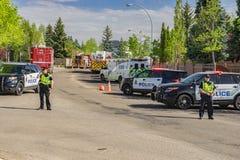 Edmonton, Canadá, o 8 de maio de 2016: O bloco de estrada da polícia ao fogo é Fotos de Stock Royalty Free