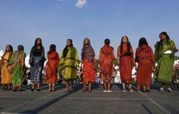 Edmonton, Canada 6 agosto 2018: I ballerini eseguono al padiglione dell'Etiopia e dell'Eritrea al festival di eredità del ` s di  immagini stock libere da diritti