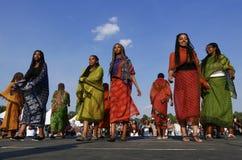 Edmonton, Canada 6 agosto 2018: I ballerini eseguono al padiglione dell'Etiopia e dell'Eritrea al festival di eredità del ` s di  fotografia stock