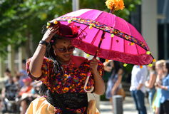 Edmonton, Canada-August 6, 2016: A woman performs at Edmonton`s Cariwest festival Royalty Free Stock Photography