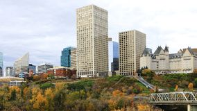 Edmonton, Canada city center with colorful aspen in fall Stock Photo
