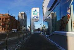 Edmonton, 27 Canada-December, 2016: De Plaats van Roger ` s in het Ijsdistrict van Edmonton ` s stock fotografie