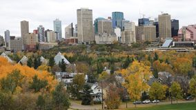 Edmonton, Canada downtown in autumn, a timelapse 4K. The Edmonton, Canada downtown in autumn, a timelapse 4K stock video