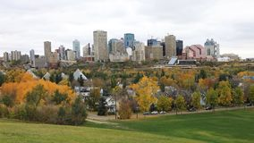 Edmonton, Canada downtown in fall, a timelapse 4K. The Edmonton, Canada downtown in fall, a timelapse 4K stock footage