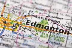 Edmonton, Canada on map. Closeup of Edmonton, Alberta, Canada depicted a road map royalty free stock image