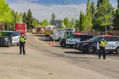 Edmonton, Canada, May 8, 2016: Police road block to the fire are Royalty Free Stock Photos