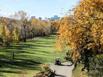 Golf course with fall colors, Edmonton, Alberta, Canada Stock Photo