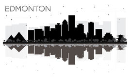 Edmonton City skyline black and white silhouette with reflection Stock Photo