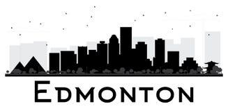 Edmonton City skyline black and white silhouette. Royalty Free Stock Images