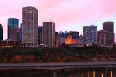 Edmonton cityscape as twilight falls Royalty Free Stock Image