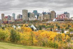 Edmonton cityscape with colorful aspen in autumn Stock Photography