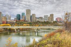 Edmonton cityscape with colorful aspen in fall Stock Image