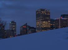 Edmonton Cityscape i vinter Arkivbild