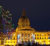 Edmonton constructiva legislativa, Alberta With Christmas Lights Fotografía de archivo libre de regalías