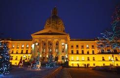 Edmonton constructiva legislativa, Alberta With Christmas Lights Fotos de archivo