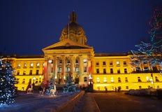 Edmonton constructiva legislativa, Alberta With Christmas Lights Foto de archivo libre de regalías