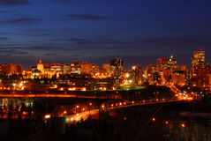 Edmonton downtown night scene Stock Image