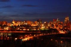 Edmonton downtown night scene Stock Image