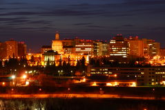 Edmonton downtown night scene Stock Photo