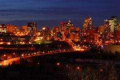 Edmonton downtown night scene Royalty Free Stock Photos