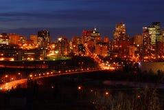 Edmonton downtown night scene Royalty Free Stock Photos