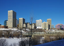 Edmonton i vinter royaltyfri fotografi