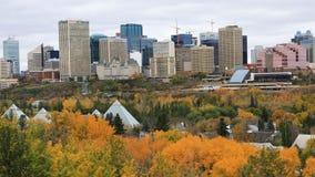 Edmonton Kanada centrum i nedgången, en timelapse 4K lager videofilmer