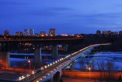 Edmonton night scene. Nightshot of low and high bridges and the still frozen north saskatchewan river, edmonton, alberta, canada Stock Photo