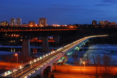 Edmonton night scene. Nightshot of low and high bridges and the still frozen north saskatchewan river, edmonton, alberta, canada Royalty Free Stock Image
