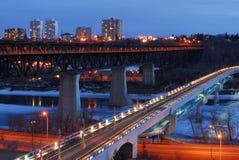Edmonton nightshot. Nightshot of edmonton downtown and the north saskatchewan river valley, edmonton, alberta, canada Royalty Free Stock Photos